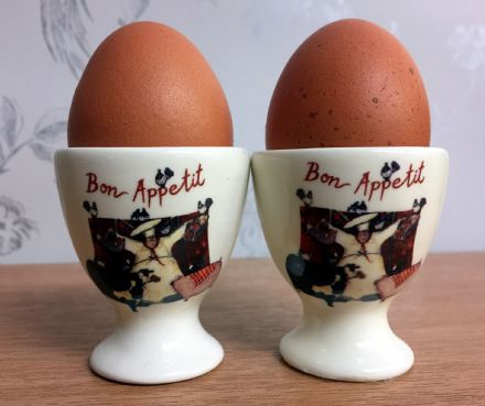 Red and Cream Bon Appetit Ceramic Egg Cup Set